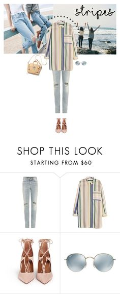 """""""Boho Stripes"""" by easewithabigail ❤ liked on Polyvore featuring ESPRIT, Yves Saint Laurent, Aquazzura, Ray-Ban and stripes"""