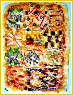 This Quilt Pizza recipe idea is ideal for a kid's party since everyone ...