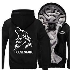 Hot New American Game of Thrones House Stark Hoodie Logo Winter JiaRong Fleece Mens Sweatshirts Free Shipping
