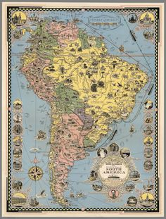 The Good Neighbor, Zuid Amerika van World Maps op canvas, behang en meer Old Maps, Antique Maps, Vintage World Maps, South America Map, Chicago Map, Pictorial Maps, Map Wall Decor, Wall Art, Art Prints