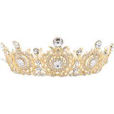 Wedding Bridal Flower Gold Tone Tiara Crown Women Jewelry Swarovski... ($47) ❤ liked on Polyvore featuring jewelry, clear jewelry, metal jewelry, bride jewelry, gold tone jewelry and goldtone jewelry