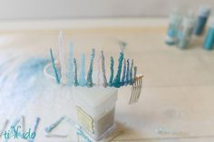 How to make a sparkly, snowy, icy tiara for an Ice Queen (or Elsa from Frozen) costume. All you need is a glue gun and some glitter!