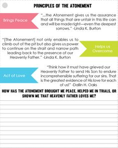 Principles of the Atonement LDS YW handout Youth Sunday School Lessons, Lds Sunday School, Scripture Journal, Scripture Study, Jesus Christ Lds, Yw Handouts, Lds Seminary, Young Women Lessons, Lds Youth