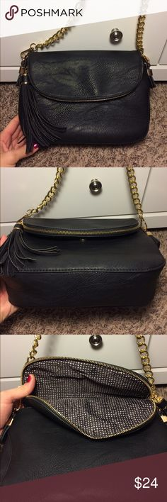 "Madison West handbag Beautiful black with gold hardware removable strap lots of pockets excellent condition I can't find a single issue except a few minor scratches on hardware measurements are approximately 11"" length 8"" height 3"" deep and 12"" strap drop madison west Bags Shoulder Bags"