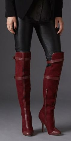 Bordeaux knee high boots