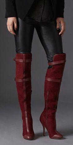 Bordeaux knee high boots