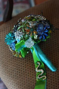 Vintage Brooch Bouquet ~ made by Amanda Heer on Etsy @ broochbouquets FOR THE TWO BRIDESMAIDS WEARING AQUA/TIFFANY BLUE/MINT.