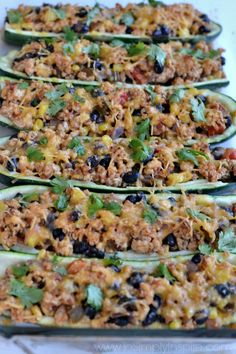 These Mexican Zucchini Boats are a fabulous healthier alternative for taco night. Seasoned ground turkey, added veggies and topped with cheese and cilantro for mouthwatering yum.