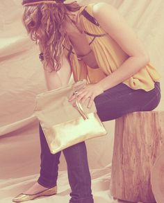 Grace Linen & Metallic Leather Clutch