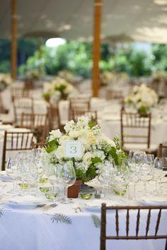 green & white garden wedding with green and white striped napkins