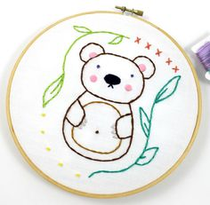 Sweet Woodland Animals Hand Embroidery PDF Pattern featuring an adorable Bunny and cute Bear - these patterns are perfect to frame for a nursery,
