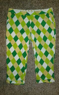 """Loudmouth Cropped Golf Pants Size 42/32 24"""" Tisket Tasket Argyle Green Yellow  #Loudmouth #CaprisCropped"""