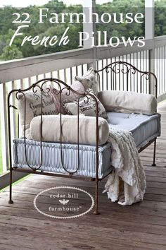 Want the Farmhouse French look in your home? Here are 22 different pillows that all work with Farmhouse French style. And I've included sources for pillows from Cedar Hill Farmhouse.