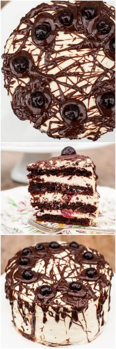 CAKE ART - Black Forest Cake just got darker, moodier and tastier. Dark chocolate layers filled with vanilla and brandy mousse and Italian Amarena cherries. Sweet Desserts, Just Desserts, Delicious Desserts, Sweet Recipes, Cake Cookies, Cupcakes, Cupcake Cakes, Shoe Cakes, Cupcake Recipes