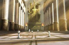 Interior templo de Zeus, reconstrucción 3.-Edificios: Partes y funciones
