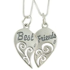 """Amazon.com: Set of 2 Sterling Silver Best Friends Heart Pendants on 18"""" Box Chain Necklaces: Jewelry"""