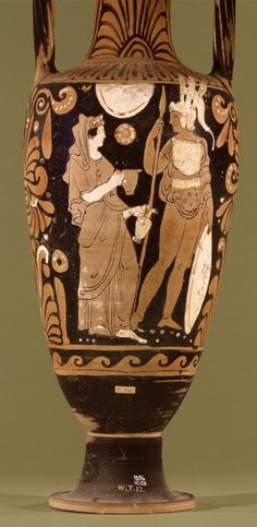 Pottery: red-figured neck-amphora with the departure of a warrior. The other side shows a youth playing with a ball, and a woman.