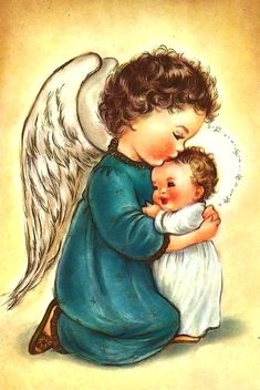 Vintage Christmas Greeting Card by artist Charlot Byj Angel with child. Vintage Greeting Cards, Vintage Christmas Cards, Christmas Greeting Cards, Christmas Pictures, Christmas Greetings, Vintage Postcards, Christmas Angels, Christmas Art, Image Jesus