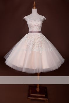 2015 Fashion Blush Pink Tea Length Wedding Bridal Dresses with lace Short Sleeve Tulle A line Cheap Real Actual Image Photo