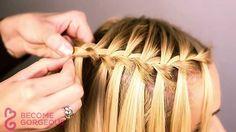 Waterfall Braid Tutorial - Become Gorgeous - Frisuren - braids Braiding Your Own Hair, Braids For Short Hair, Short Hair Styles, Cute Girls Hairstyles, Pretty Hairstyles, Braided Hairstyles, Hairstyles Videos, Wedding Hairstyles, Teenage Hairstyles