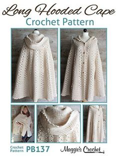 Crochet Pattern Long Hooded Cape PB137- I don't have the patience for big projects like this, but boy is this pretty!