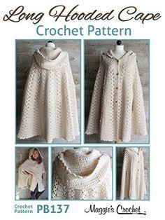 Crochet Pattern Long Hooded Cape PB137