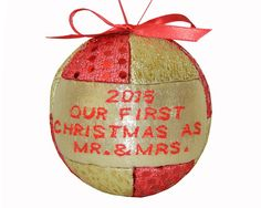 New 2015 Red and Gold First Christmas as Mr and Mrs Ornament Wedding Shower Gift by CraftCrazy4U