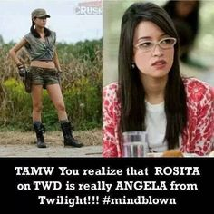 I noticed that! It's awesome because Twilight is my fav movie and TWD is my fav tv show! Rosita The Walking Dead, Walking Dead Facts, Walking Dead Funny, Walking Dead Zombies, Fear The Walking Dead, Best Tv Shows, Movies And Tv Shows, Talking To The Dead, Ballet