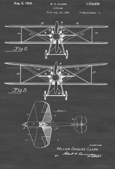 Patent print poster of a Biplane invented by William Douglas Clark. The patent was issued by the United States Patent Office on August 6, 1929. Patent prints allow you to have a piece of history in your Home, Office, Man Cave, Geek Den or anywhere you wish to add an interesting touch. COLORS AND SIZES Prints are ...