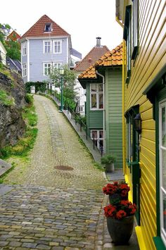 Gamle Bergen, the old town of Bergen, Norway. I walked these streets with my family August 5, 1988.