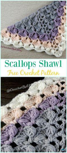 Crochet Scallops Shawl Free Pattern - #Crochet; Women #Shawl; Sweater Outwear Free Patterns