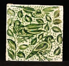 William de Morgan - Fulham - A square tile decorated with three handpainted birds perched amidst flowers #tile #ukauctioneers