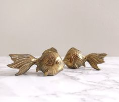 Vintage Brass Fish Set of 2