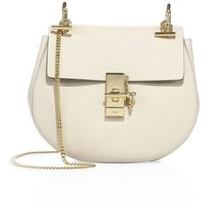Chloé Women's Drew Small Leather Saddle Crossbody Bag ($1,850) ❤ liked on Polyvore featuring bags, handbags, shoulder bags, handbags - chloe handbags, ivory, leather shoulder bag, crossbody purses, white leather purse, leather cross body purse and leather man bags