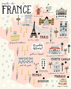Paris illustrated map france art print city map by livigosling. Travel Maps, Travel List, Paris Travel, Travel Posters, Places To Travel, Paris Map, Map France, France Travel, Nice France