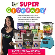NEW SUPER #GIVEAWAY from #BlenderBabes! CLICK HERE to ENTER TO WIN a #Blendtec Classic 575 Blender ($400 value), #RockinWellness #Protein Variety Pack ($135 value), #NavitasNaturals (value $50), Blender Babes T-shirt ($25 value).  TOTAL VALUE $610!! Woo-hoo!! :)  Go Here to Enter Our Latest Super Giveaway! ~> BlenderBabes.com/Super-Giveaway