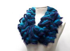 Knit Ruffle Scarf  Fuzzy Chunky Scarflette  Blue by ixela on Etsy, $32.00
