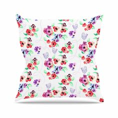 Zara Martina Mansen Spring Flowers And Birds White Red Throw Pillow