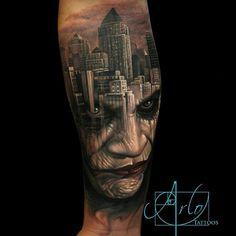 Amazing skill demonstrated by @arlotattoos with this Joker/Gotham City morph tattoo! (Shared by @sambaileyartwork)