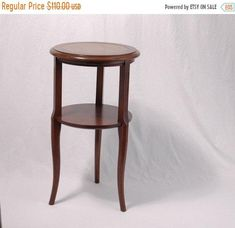 Tiered Table Wood And Leather Accent Vintage Wine Table Fruit Wood Mahogany 2 Tiered Tri Pod Fluted Leg Living Room Side End Table