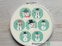 Snowmen cross stitch pattern christmas pattern por Happinesst