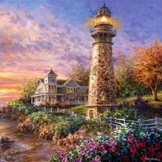 Lighthouse Painting By Thomas Kinkade Belle Image Nature, Thomas Kinkade Art, Kinkade Paintings, Thomas Kincaid, Painting Prints, Canvas Prints, Pintura Exterior, Art Thomas, Lighthouse Painting