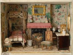 A room in the Barbara Striesand Silber and Fleming house offered by Carmel Doll Shop Miniature Rooms, Miniature Houses, Miniature Furniture, Doll Furniture, Dollhouse Furniture, Antique Dollhouse, Dollhouse Dolls, Dollhouse Miniatures, Victorian Dolls