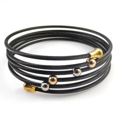 Fashion Multilayers Cable Bracelets Silver Gold Black Stainless Steel Beads Charm Twisted Cable Wire Wrap Bracelets For Women #Affiliate