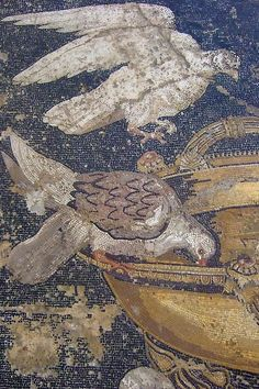 Mosaic depicting doves drinking from a bowl, probably after an original mosaic by Sosus of Pergamon Roman 1st century CE Pompeiii (4) by mharrsch, via Flickr