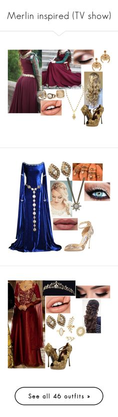 """Merlin inspired (TV show)"" by sophie-swan ❤ liked on Polyvore featuring Dolce&Gabbana, Rimmel, Elizabeth Cole, Christian Dior, Bloomingdale's, Jimmy Choo, Charlotte Russe, Once Upon a Time, Verragio and Ted Baker"