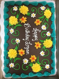 Buttercream floral cake by Laurie Grissom Cake Decorating Tips, Cookie Decorating, Slab Cake, Frosting Flowers, Cupcake Cupcake, Fall Cakes, Cake Business, Sheet Cakes, New Cake