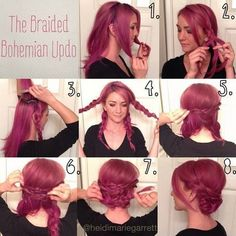 Braided Bohemian Updo Hairstyle Tutorial for Purple Hair