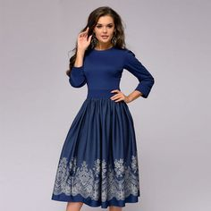 Spring 2020 women's elegant dress sleeve printing fashion round neck A-line slim dress retro dress party Vestidos Dresses For Sale, Dresses For Work, Fat Women, Mode Outfits, Retro Dress, Holiday Dresses, Spring, Types Of Sleeves, Plus Size Outfits