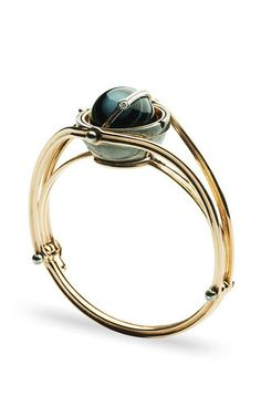 18 K Gold & Patinated Silver Bangle With Onyx Globe by ELIE TOP for Preorder on Moda Operandi